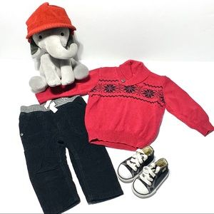 Gymboree Red & Black Knit Holiday Sweater & Hat